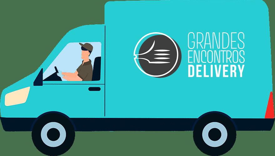 vetor de carrinha de entregas com logo grandes encontros delivery