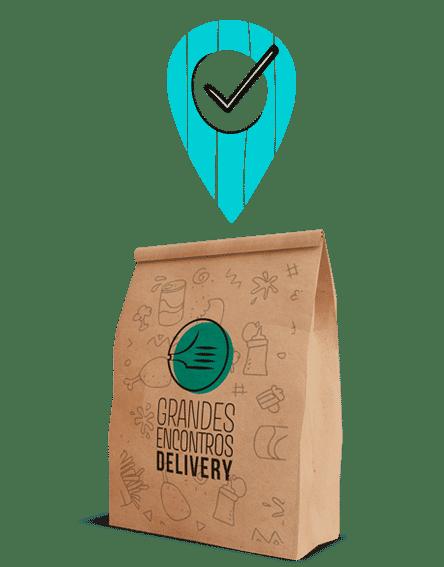 saco de entrega com logo da grandes encontros delivery